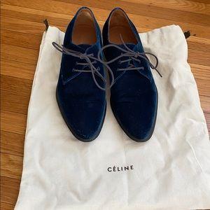 Céline blue velvet oxfords